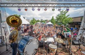 Pic of Tivoli Club Brass Band playing a festival in Denver in 2018